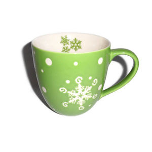 Starbucks Holiday 2007 Green Snowflake Mug